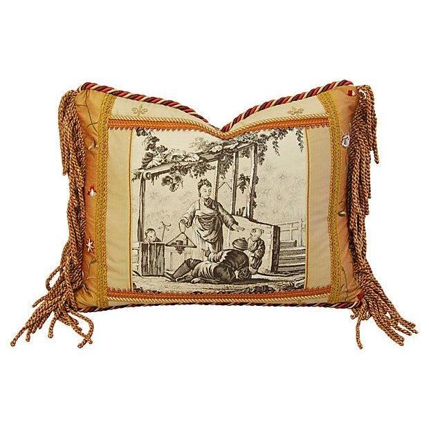 Designer Brunschwig Fils Toile Silk Accent Pillow - Image 1 of 5