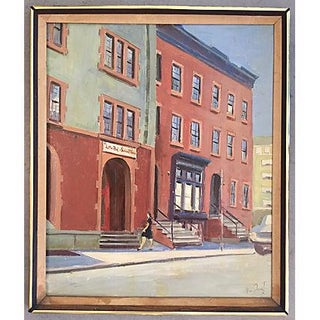 Mid-Century Little Red Schoolhouse Oil Painting