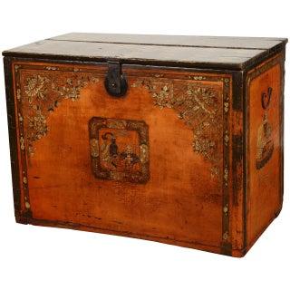 18th Century Yellow Mongolian Trunk