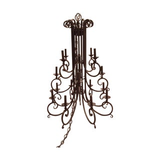 Kalco 16 Light Wrought Iron Chandelier