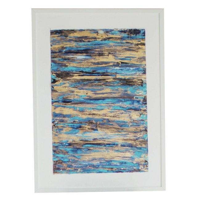 """Image of Framed Goldleaf & Paper Abstract Art - 13"""" x 19"""""""