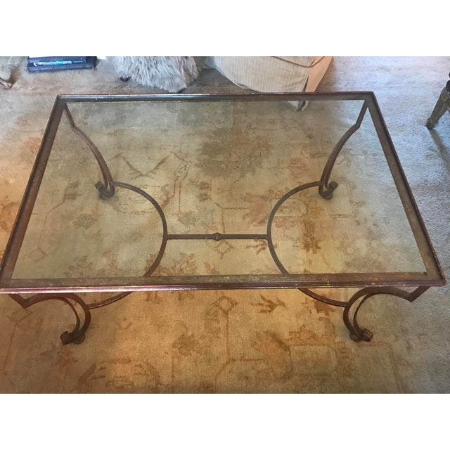 Large Rectangular Iron Glass Top Coffee Table - Image 3 of 4