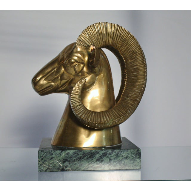 Image of Brass Ram Bust On Marble Plinth
