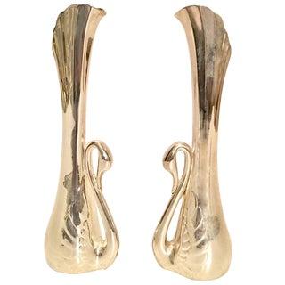 Vintage Art Nouveau Silver Plate Swan Bud Vases - A Pair