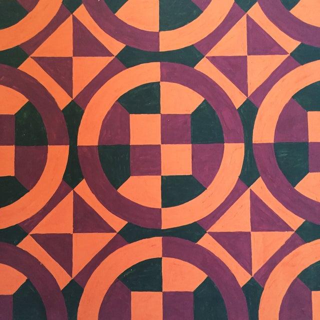 Mid-Century Geometric Pattern Painting - Image 3 of 4