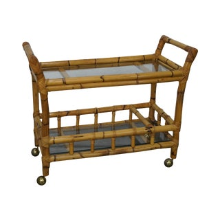 Rattan Bamboo & Glass Rolling Server Cart