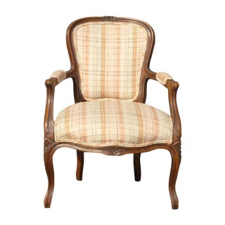 French Provincial Carved Plaid Accent Arm Chair