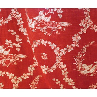 Pierre Deux Red Toile Linen Fabric - 10 Yards