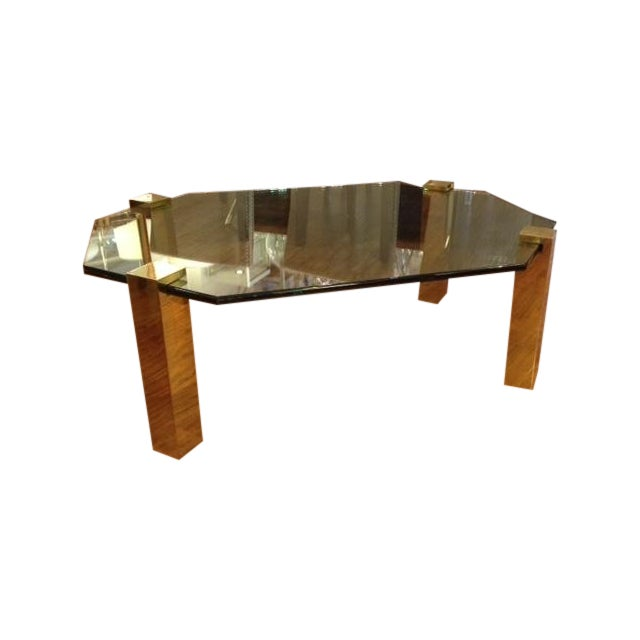 Vintage Brass And Glass Octagon Coffee Table