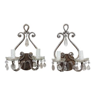 Rock Crystal Silvered & Beaded Metal Sconces - A Pair