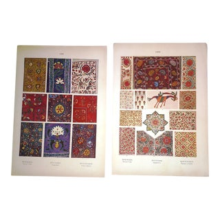 Vintage Early 20th Century Eastern European Tapestry & Embroidery Prints - A Pair