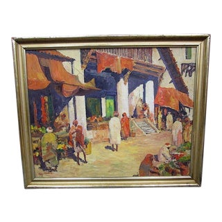 Important Tunisia Market Scene-Signed Oil On Canvas By George Turland