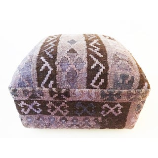 Turkish Kilim Upholstered Ottoman