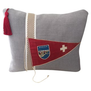 """Hit the Road!""  Vintage Travel Pennant Pillow"