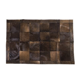 """Hand Riveted Cowhide Patchwork Area Rug- 4'7"""" x 6'7"""""""