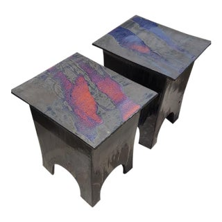 Purple Glazed Metal Side Tables - A Pair