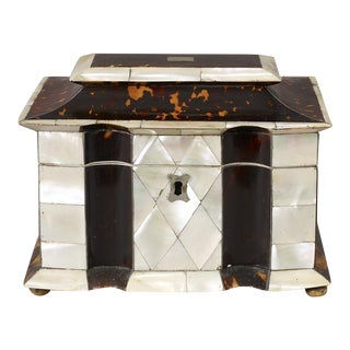 Rare Tortoise-Shell and Mother of Pearl Tea Caddy