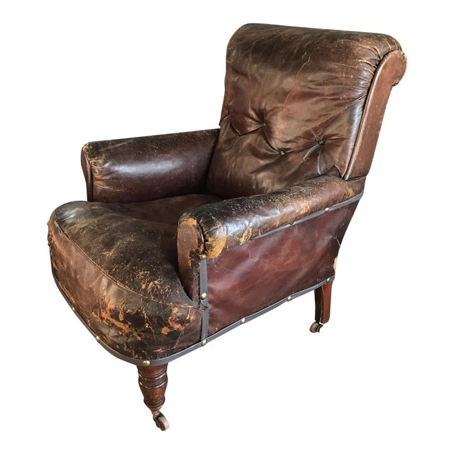 Old, Distressed Leather Club Chair - Image 1 of 10