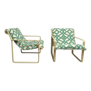 Aluminum Hannah Morrison Sling Arm Chairs - Pair