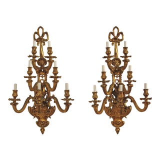 A Large Pair of Ormolu Louis XV Style Sconces