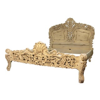 French Country Carved Queen Size Bed Frame