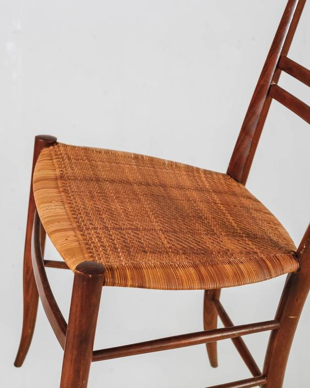 Pair Of Chiavari Beech And Cane Side Chairs, Italy, 1950s   Image 6 Of