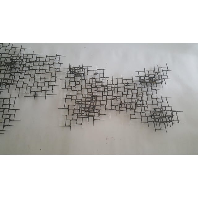 Abstract Fish Wall Sculpture Welded Nails & Bronze - Image 5 of 7