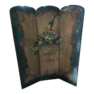 Victorian Hand Painted Bird Flower Folding Screen