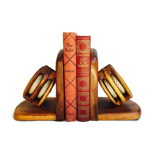 Mid-Century Wood Pulley Bookends - Pair - Image 7 of 7