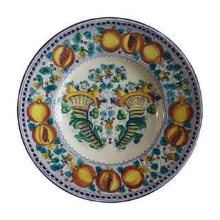 Tuscan Hand Painted Platter With Pomegranates