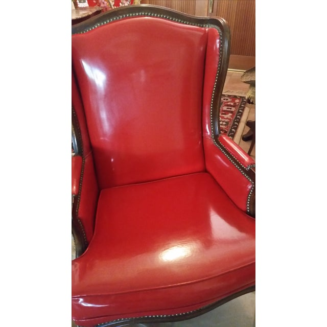 Antique Red Patent Leather Armchair | Chairish