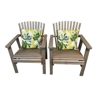 Carved Oak Adirondack Style Patio Chairs - A Pair