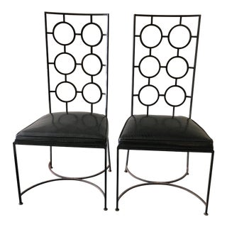 Parzinger Style Wrought Iron Accent Chairs- A Pair