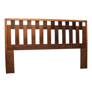 Mid-Century Danish Modern Walnut Queen Size Headboard