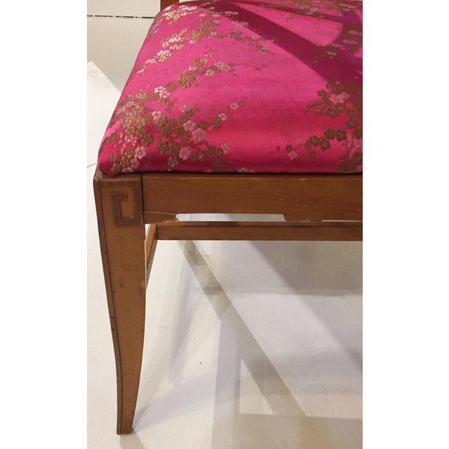 1940's Fretwork Greek Key Side Chair With Asian Upholstery - Image 8 of 9