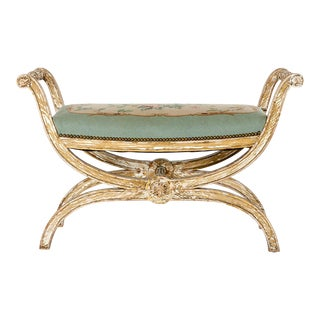 French Needle Point Cushioned Bench