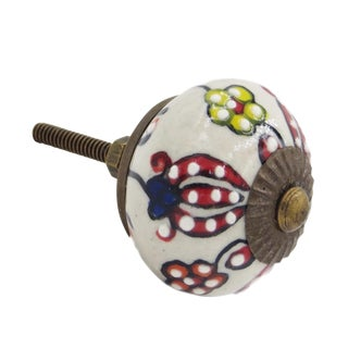 Trishul Flower Red Decorative Knobs - Set of 6