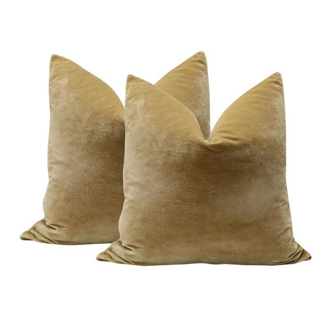 """22"""" Italian Silk Velvet Pillows in Camel - A Pair - Image 1 of 3"""
