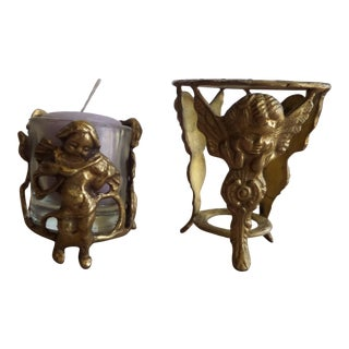 Solid Brass Cherubs Display Stand & Candle Holder - A Pair