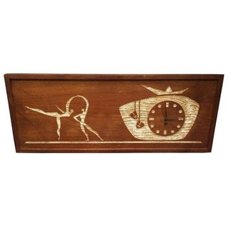 Mid-Century Modern Carved Cork Wall Clock