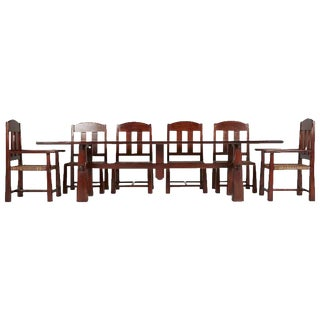 Argentinian Algarrobo Wood Trestle Dining Set