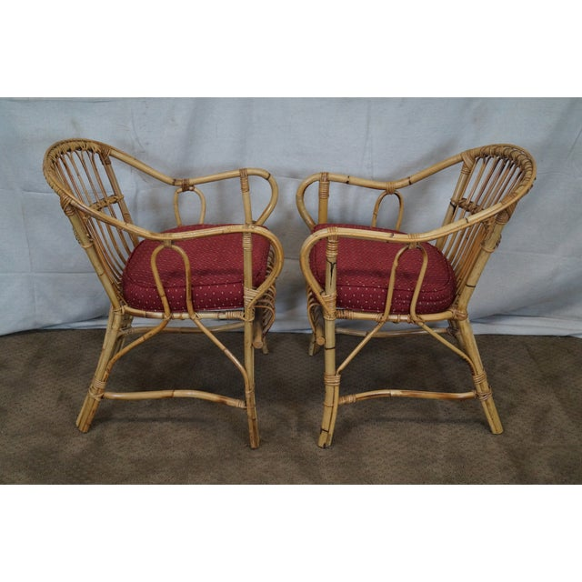 Bamboo Chair With Arms: Bent Wood Rattan Bamboo Arm Chairs - A Pair