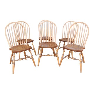 1990s Oak & Pine Hoop-Back Windsor Style Spindle Chairs - Set of 6