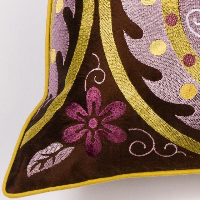 Purple Embroidered Moroccan Pillow - Image 2 of 2
