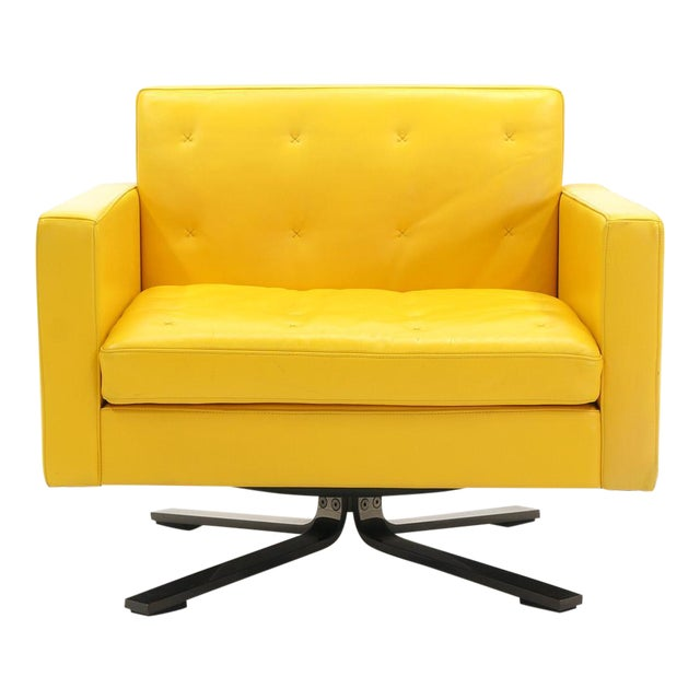 Poltrona Frau Yellow Leather Memory Swivel Lounge Chair - Image 1 of 11