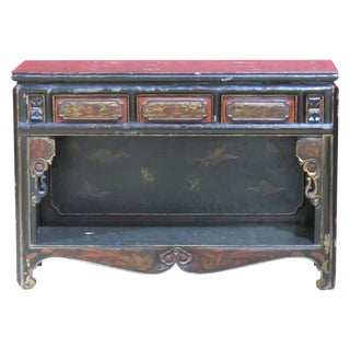 Chinoiserie Paint Decorated Ebonized Console Table