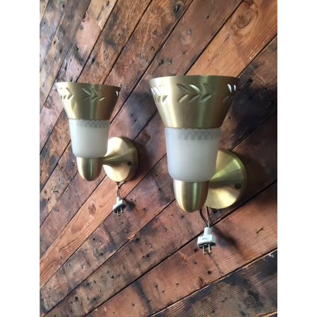 Image of Vintage Sconces With Brass Finish - A Pair