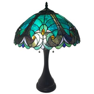 Teal/Blue Tiffany Studios-Style Lamp