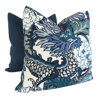 "20"" x 20"" Schumacher China Blue Chiang Mai Dragon Pillow Cover"