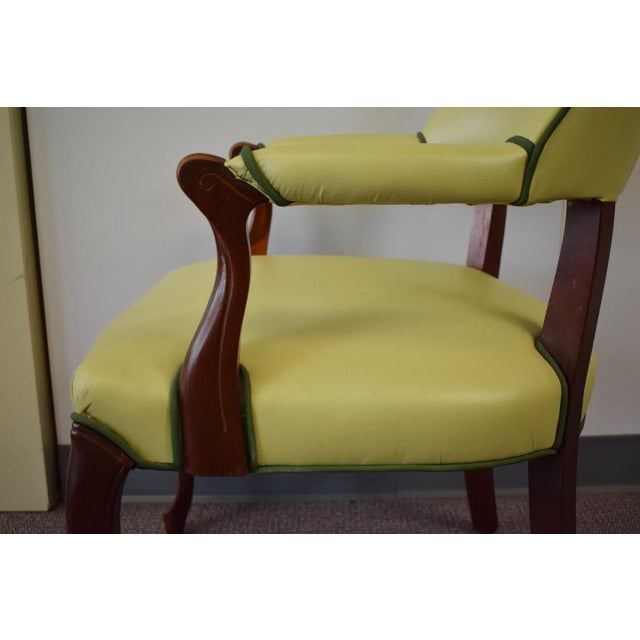 Elegant Set of (4) Celedon Green Leather W Hunter Green Piping Upholstered Bergere Chairs - Image 6 of 10